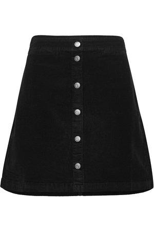 J.Crew Dame Miniskjørt - Garment Dye Corduroy Button-Front Mini. Kort Skjørt