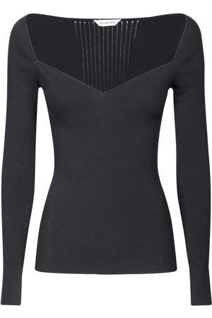 Balenciaga Dame Off shoulder - Off-the-shoulder Long Sleeved Knit Top