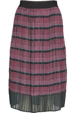 Saint Tropez U8031, Woven Plisse Skirt Calf Leng Knelangt Skjørt Multi/mønstret