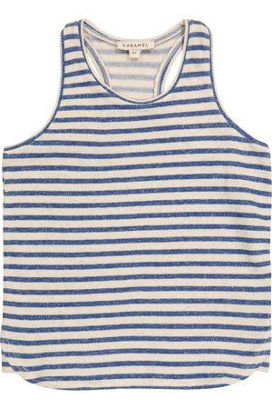 Caramel Bluebottle striped cotton and linen tank top