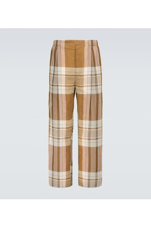 LEMAIRE Pleated checked drawstring pants