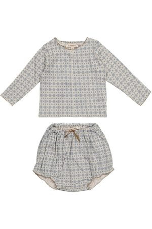 Caramel Baby Dottback top and bloomers set