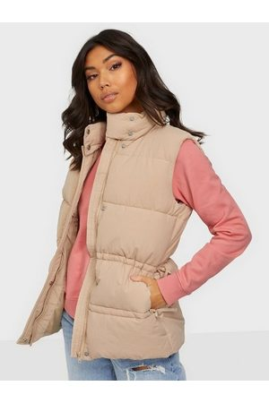 Missguided Gathered Detail Paded Gilet Stone