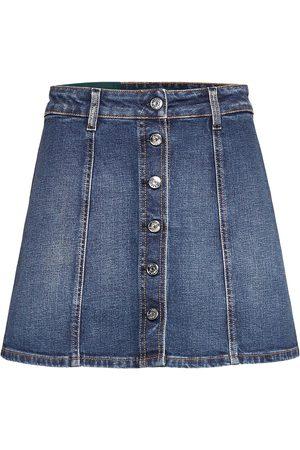 Self Cinema Womens Denim Skirt Embroidered Kort Skjørt