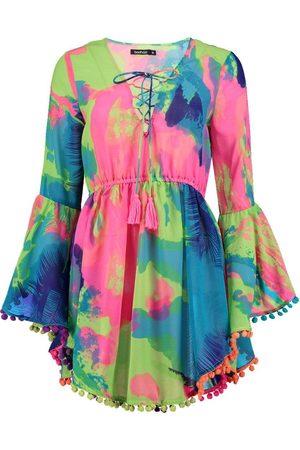 Boohoo Dame Strandkjoler - Tropical Pom Pom Beach Dress