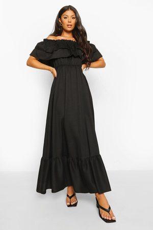 Boohoo Ruffle Off The Shoulder Maxi Dress
