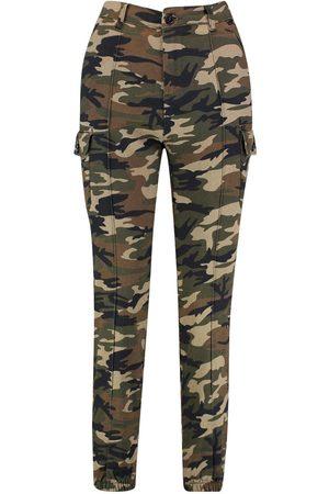 Boohoo Dame Cargobukser - Camo Print Elasticated Hem Cargo Trousers