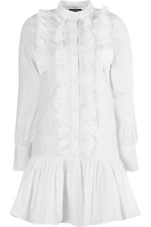 Boohoo Cotton Frill Detail Shirt Dress