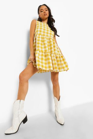 Boohoo Dame Hverdagskjoler - Gingham Sleeveless Tiered Smock Dress