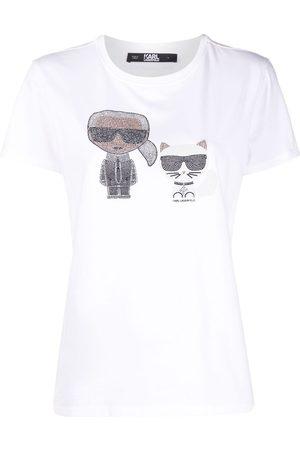 Karl Lagerfeld Dame Kortermede - Crystal-embellished Karl T-shirt