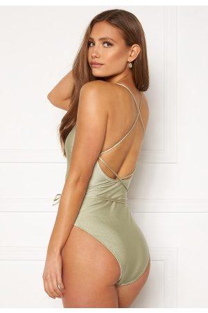 BUBBLEROOM Melia high thigh strap swimsuit Dusty green L