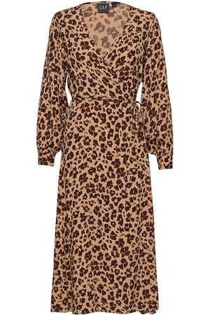 GAP Dame Maxikjoler - Wrap-Front Maxi Dress Dresses Wrap Dresses Brun