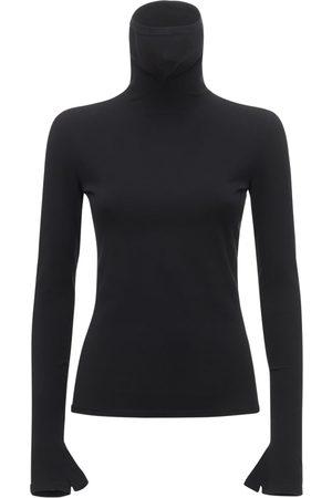 Balenciaga Dame Pologensere - Jersey Knit Mask Turtleneck Sweater