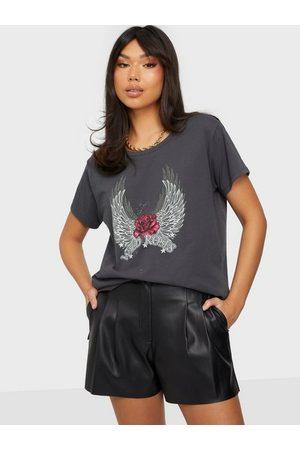 Vila Dame Kortermede - Virocksy Rock S/S T-Shirt/L/K Asphalt Wild Roses