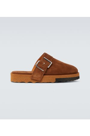 OFF-WHITE Comfort backless suede slippers
