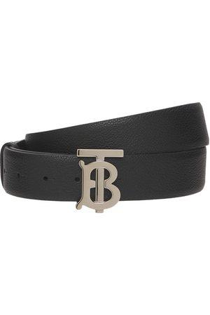 Burberry 3.5cm Grained Leather Belt W/ Tb Logo