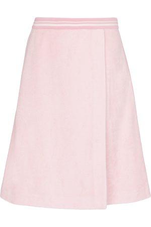 Miu Miu High-rise cotton-blend midi skirt