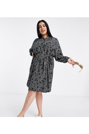 Simply Be Shift dress with balloon sleeves in black print-Multi
