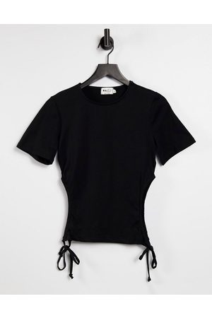 NA-KD Organic cotton cut out detail cropped t-shirt in black