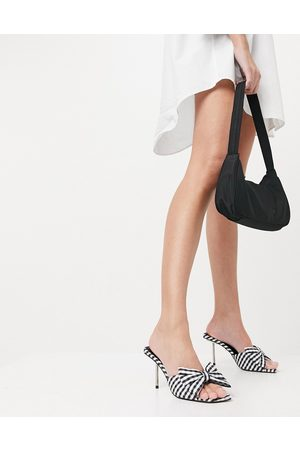 ASOS Neha bow high heeled mules in gingham-Multi