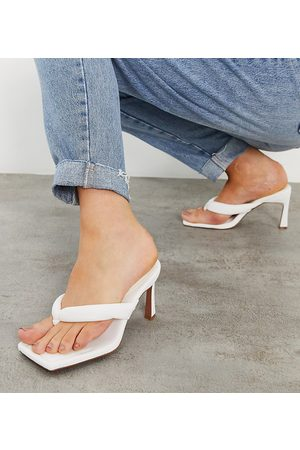 ASOS Wide Fit Haven padded toe thong heeled sandals in white