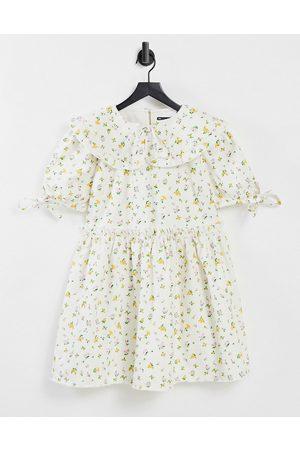 ASOS Denim frill collar smock dress in ditsy floral print-Multi