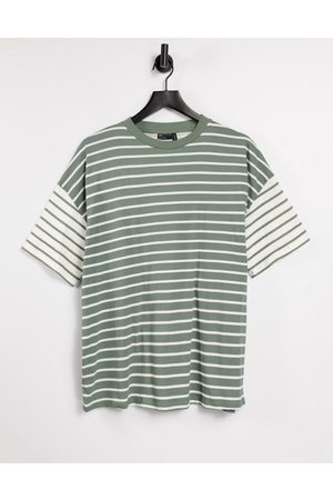 ASOS Oversized t-shirt in cut-about stripe in washed sage-Green
