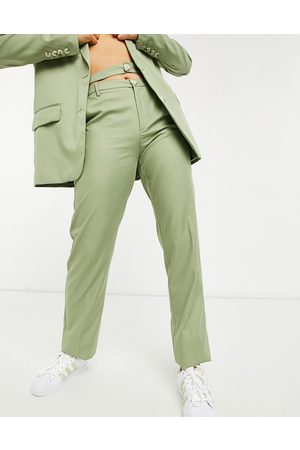 Bershka Double waisted tailored trouser co-ord in olive green