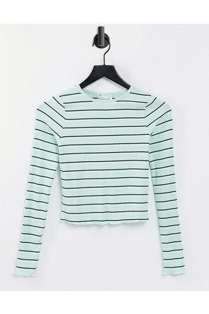 ASOS Long sleeve top in rib with mint and black stripe-Multi