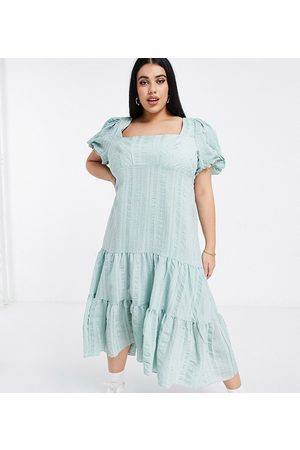 Forever New Puff sleeve square neck midaxi dress with bow back in soft mint-Green