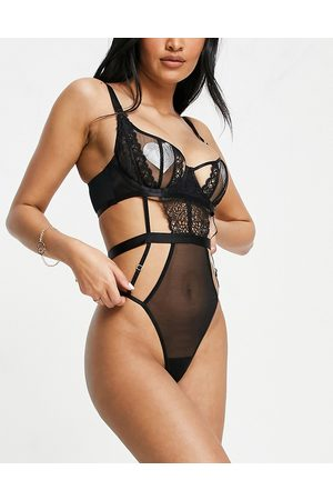 Wolf & Whistle Fuller Bust wired balconette strappy body in black