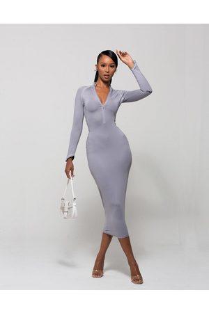 WMNSWear Plunge zip front long sleeve midi dress in grey