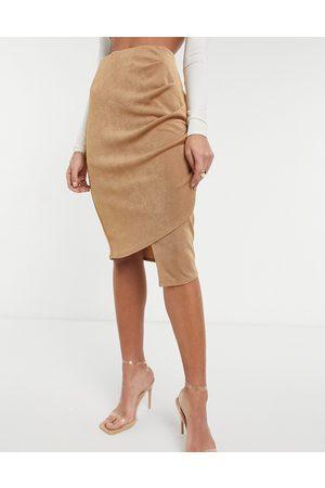 Closet Dame Midiskjørt - Gathered wrap midi skirt in camel-Neutral