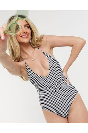 New Look Dame Badedrakter - Belted swimsuit in gingham-Multi