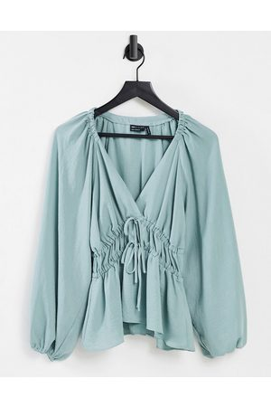 ASOS Long sleeve v neck top with kimono sleeve and tie front in smoky blue