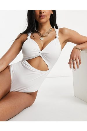 ASOS Fuller bust recycled loop front supportive swimsuit with knot in white