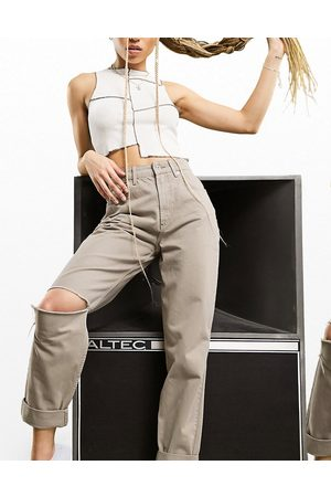 ASOS High rise 'slouchy' mom jean in mushroom with knee rips-Grey