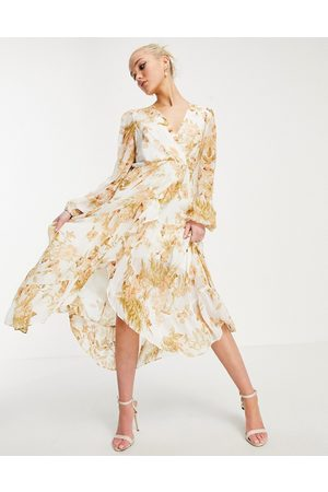 Forever New Ruffle wrap midi dress in ivory and gold floral-Multi