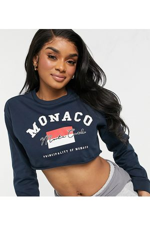 ASOS ASOS DESIGN Petite cropped t-shirt with monaco embroidery in navy-Black