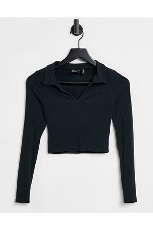 ASOS Fitted polo in rib with long sleeve in black