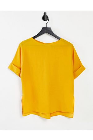 ASOS Oversized woven tee with roll sleeve in amber-Yellow