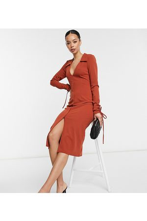 ASOS ASOS DESIGN Tall shirt plunge midi dress with cuff ties in rust-Brown