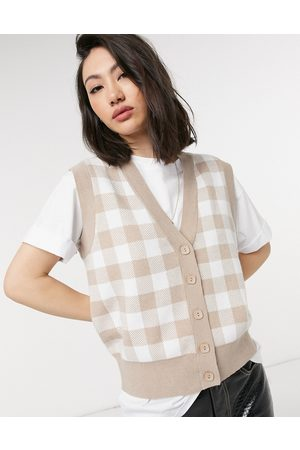 Lost Ink Knitted vest in tan gingham-Neutral