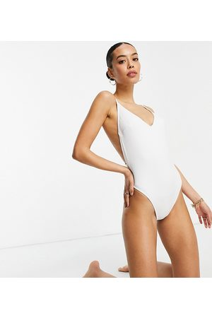 ASOS ASOS DESIGN tall recycled strappy low back swimsuit in white