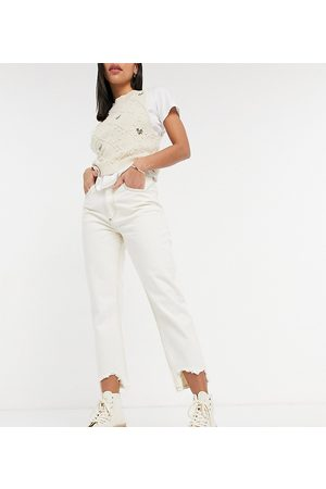 Reclaimed Inspired 91' mom jean with destroyed hems in ecru-White