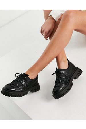 ASOS Manx chunky flat shoes in black