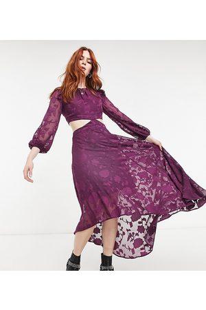 Dark Pink Cut-out midi tea dress with sheer sleeves in textured rose-Purple