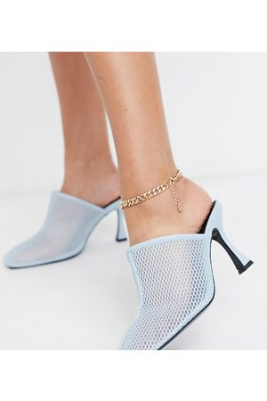 ASOS Wide Fit Sian mesh mid heeled mules in blue