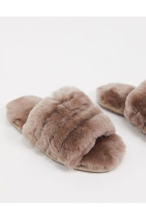 ASOS Zola premium sheepskin slippers in mink-Brown