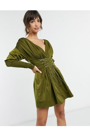 ASOS Off shoulder ruched mini dress with lace up detail-Green